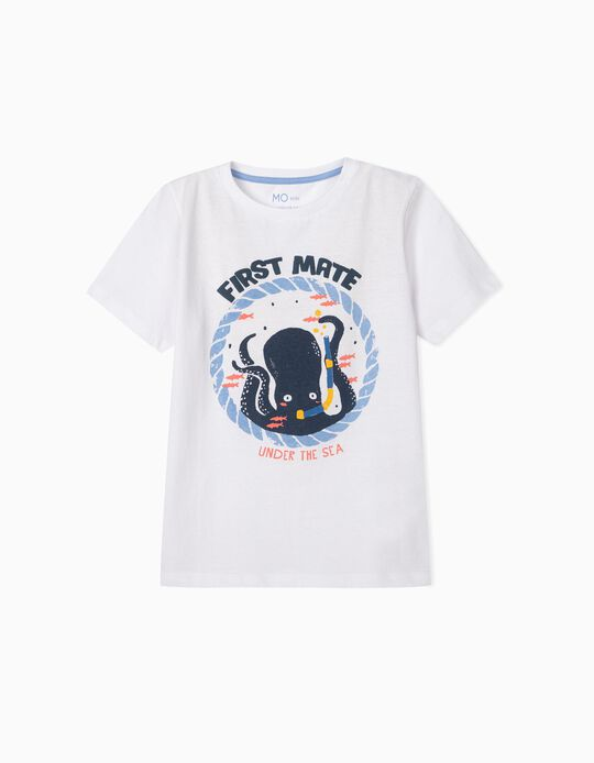 White T-shirt with Print, for Boys