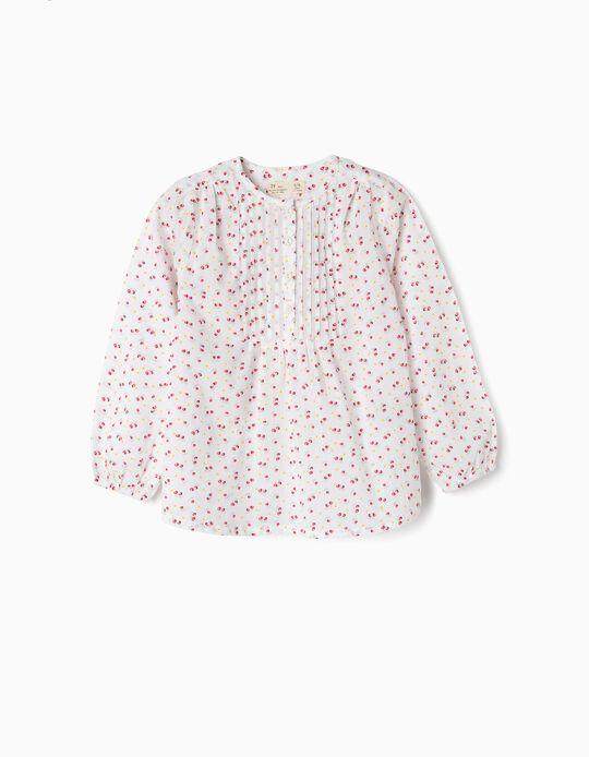 Blouse for Girls 'Flowers', White