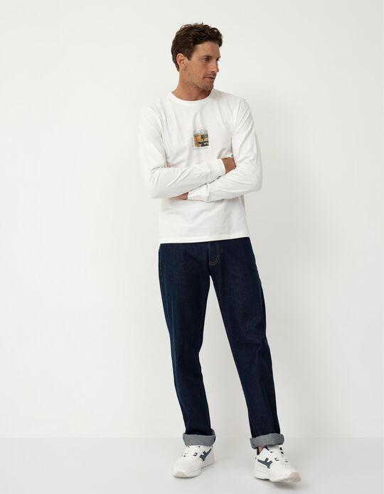 Long Sleeve Top in Organic Cotton, Men, White