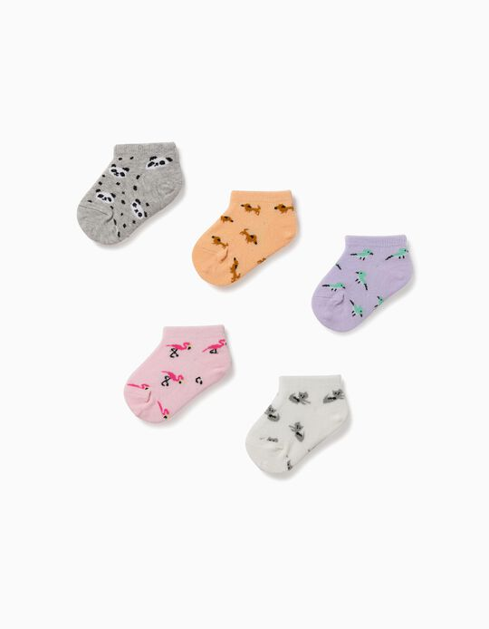 5 Pairs of Ankle Socks for Baby Girls, 'Animals', Multicoloured