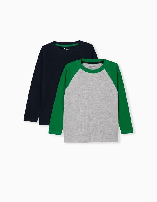 2 Long Sleeve Tops, Kids, Grey/ Blue