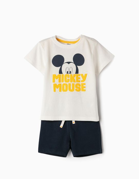 T-shirt and Shorts for Baby Boys 'Mickey', White and Blue