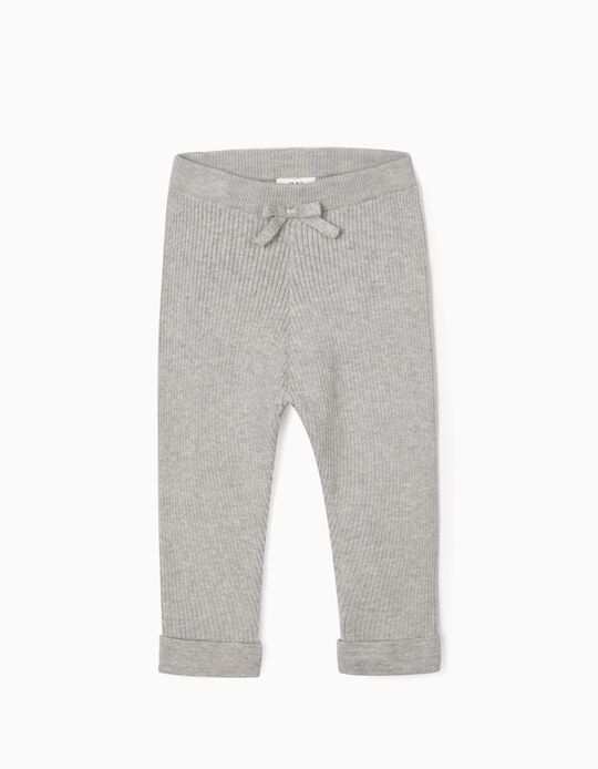 Rib Knit Trousers for Baby Girls, Grey