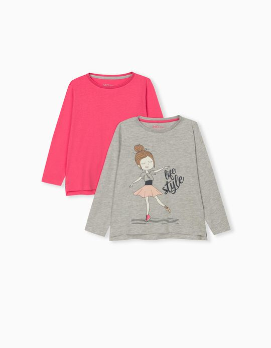 2 Long Sleeve Tops for Girls, Grey/ Pink