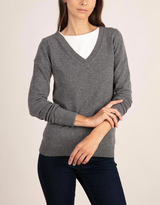 Camisola em Baby Wool com decote em V da gama Essentials