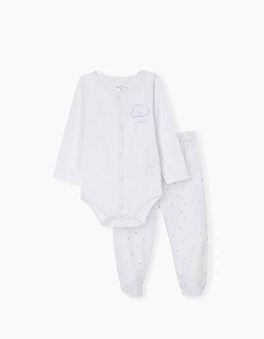 Bodysuit & Trousers for Babies, White/ Blue
