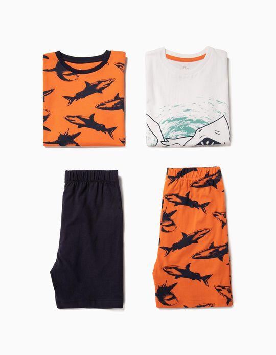 2 Pijamas para Menino 'Sharks', Branco e Laranja