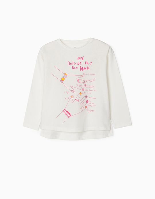 Long Sleeve Top for Girls, 'Fashion Nails', White