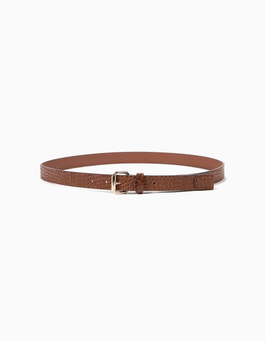Camel Crocodile-Effect Belt