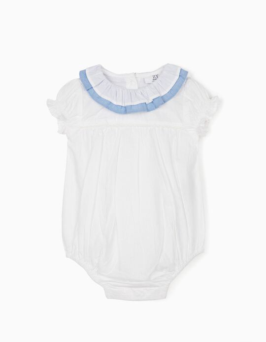 Body-Blusa com Folhos para Recém-Nascida, Branco