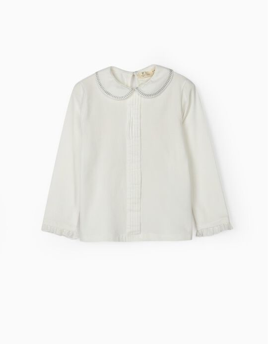 Long Sleeve Top with Collar for Girls, White