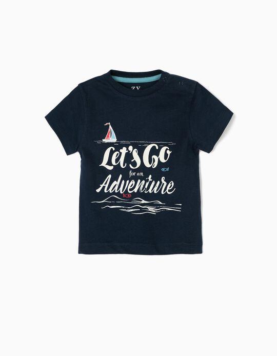 T-shirt para Bebé Menino 'Adventure', Azul Escuro
