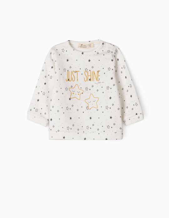 Sweatshirt for Newborn Baby Girls 'Just Shine', White