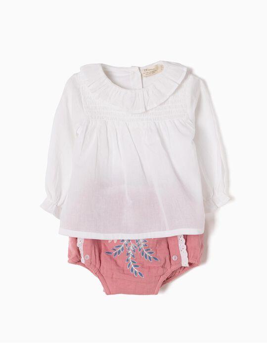 Conjunto Body-Blusa e Tapa-Fraldas Flores