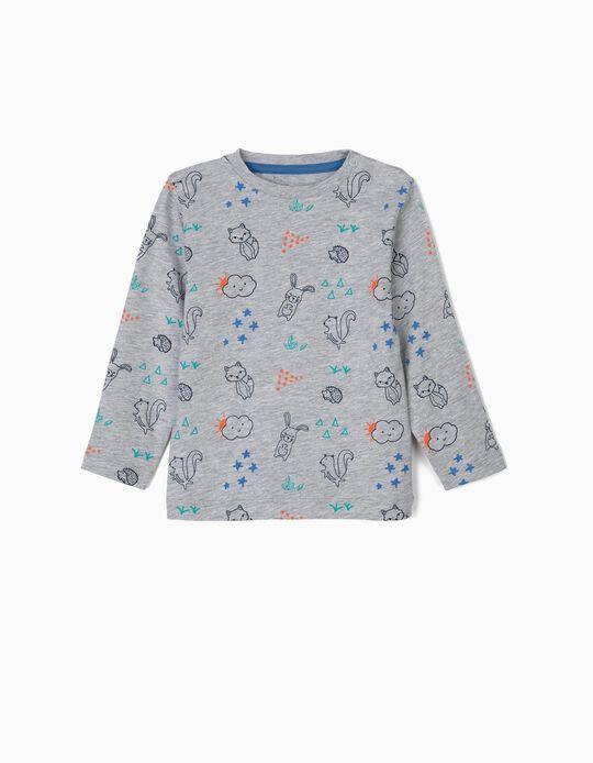 T-shirt Manga Comprida Estampada para Bebé Menino, Cinza