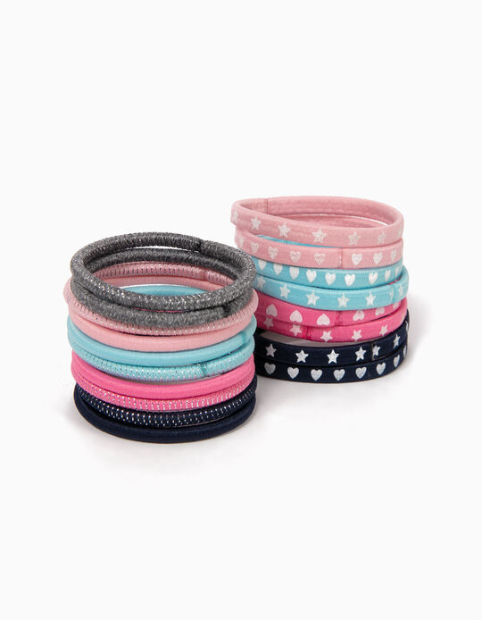 Pack of 18 Plain and Printed Hair Ties