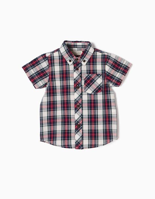 Camisa Bebé Menino Manga Curta Xadrez Vermelho e Azul