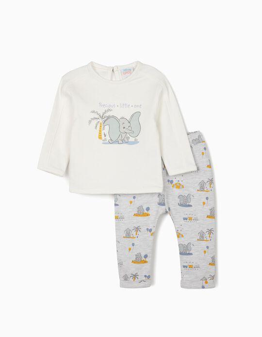 Tracksuit for Newborn Baby Boys, 'Dumbo', White/Grey