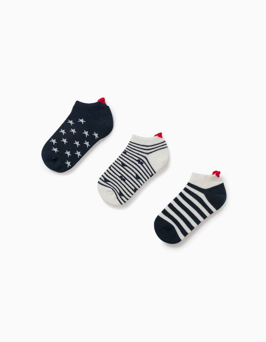 3 Pairs of Ankle Socks for Girls, 'Hearts & Stars', Blue/White