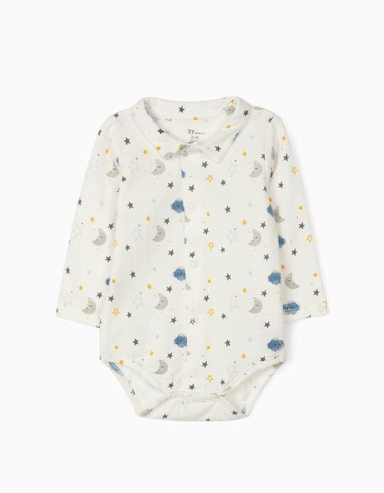 Bodysuit for Newborn Baby Boys 'Night Sky', White