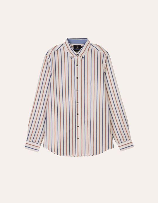 Camisa slim fit riscas bicolores