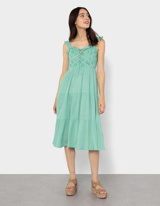 Embroidered Dress for Women, Aqua Green
