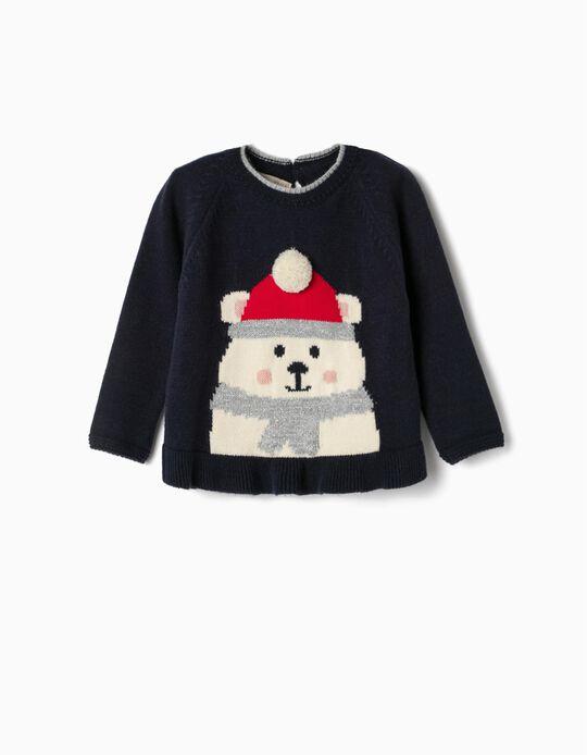 Camisola de Malha para Bebé Menina 'Winter Bear', Azul Escuro