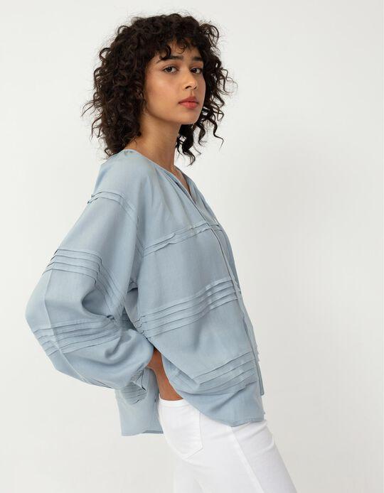 Long Sleeve Linen Blouse, Women, Blue
