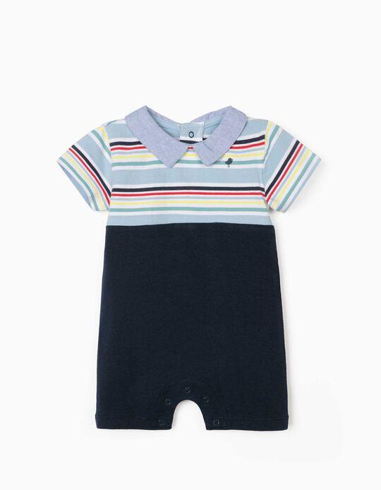 Jumpsuit for Newborn Baby Boys, 'Bird', Dark Blue