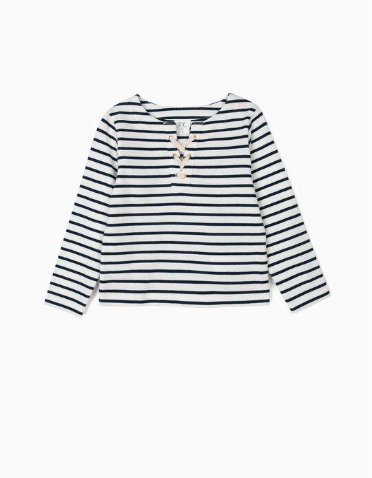 Sweatshirt para Menina às Riscas, Branco e Azul