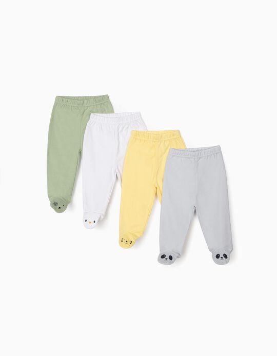 4-Pack Trousers with Feet for Baby Boys 'Animals', Multicolour