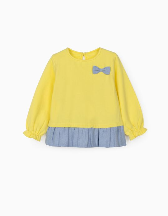 Long Sleeve Dual Fabric Top for Baby Girls, Yellow/Blue
