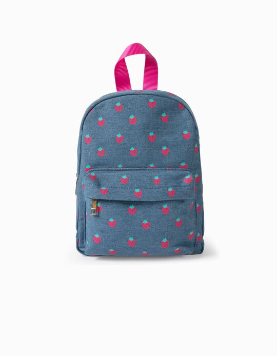 Denim Backpack for Girls, 'Strawberries', Blue