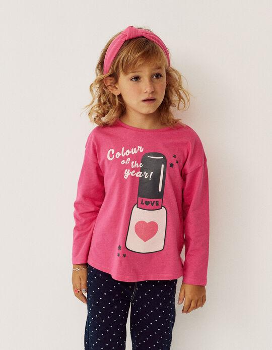 Long Sleeves T-Shirt for Girls 'Nail Polish', Pink