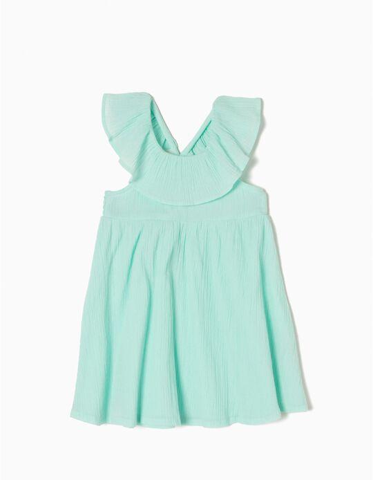 Vestido Crepe Verde Claro