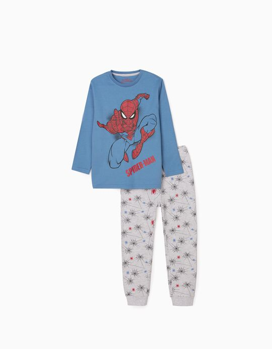 Pijama Manga Comprida para Menino 'Spider-Man', Azul/Cinza