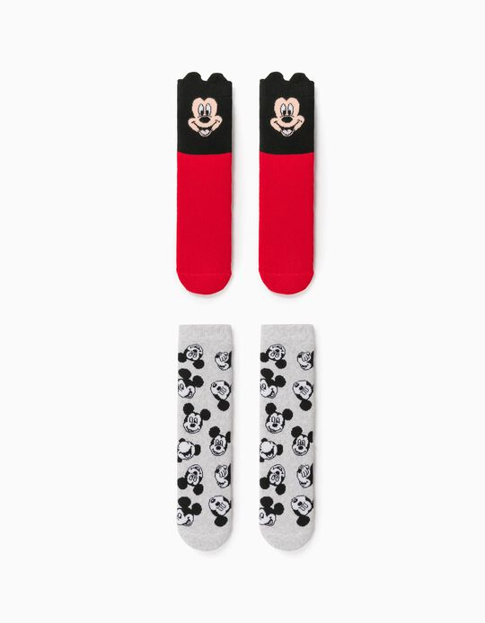 2 Pairs of Non-slip Socks for Boys, 'Mickey', Red/Grey
