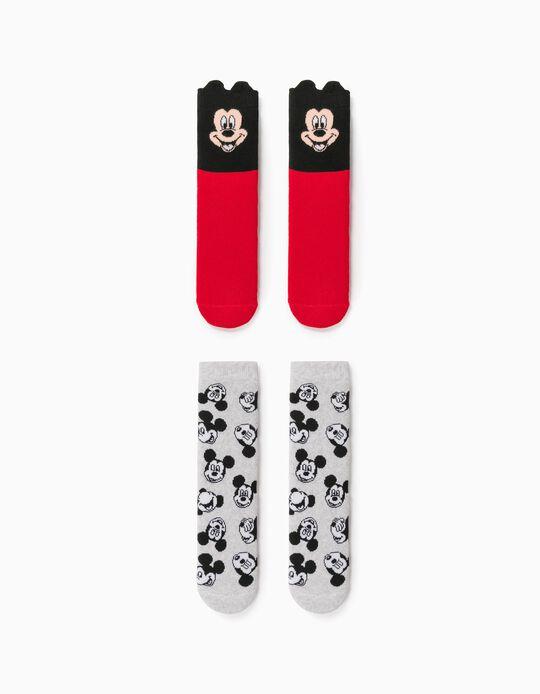 2 Pares Meias Antiderrapantes para Menino 'Mickey', Vermelho/Cinza