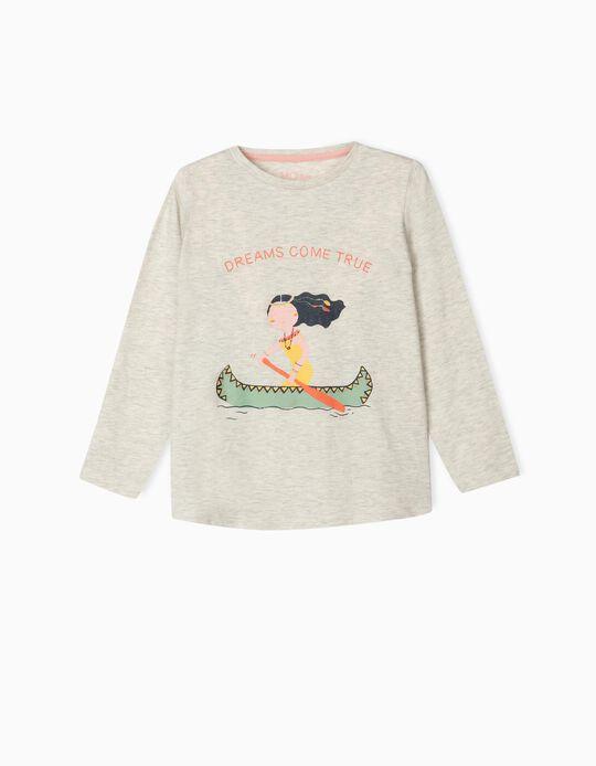 T-shirt Manga Comprida, para Menina