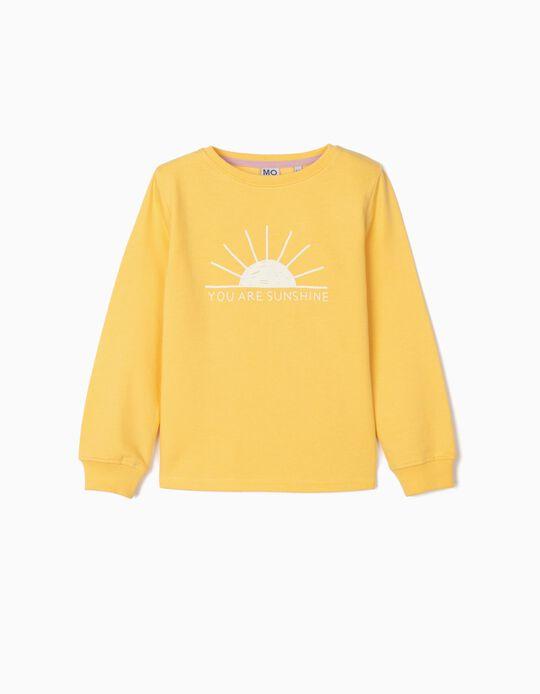 Sweatshirt com Estampado, Menina, Amarelo
