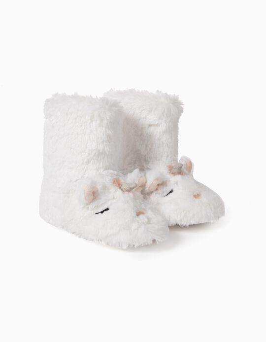 Pantufa Bota para Menina 'Unicorn', Branco