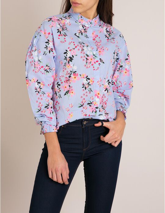 Blusa Floral Com Folhos