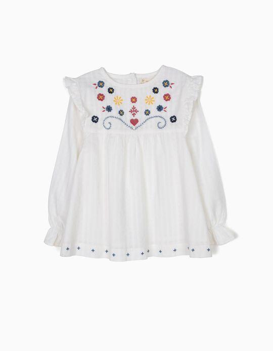 Blusa Branca com Textura e Bordados
