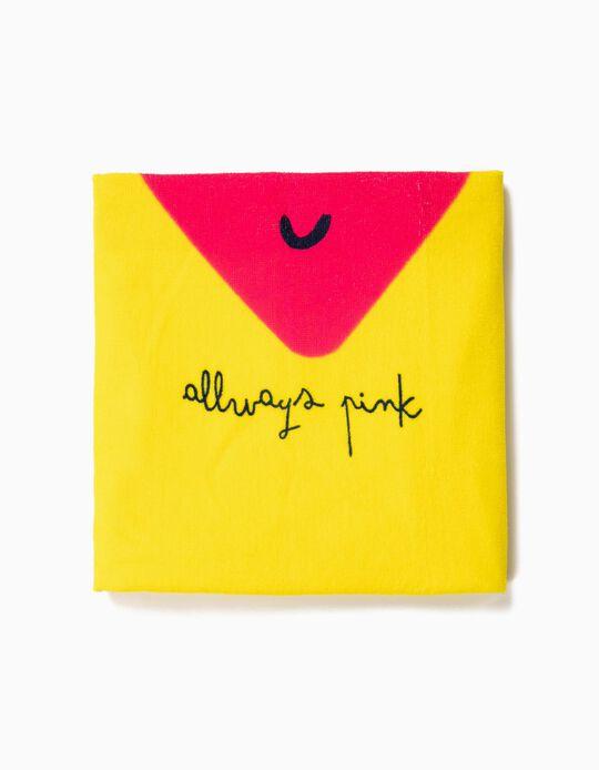 Toalha de Praia para Menina 'Always Pink', Amarelo e Rosa