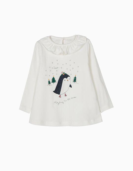 T-shirt Manga Comprida Christmas Snow Branca