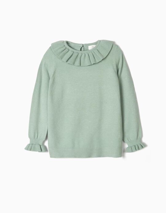 Knit Jumper with Ruffles for Girls, Green