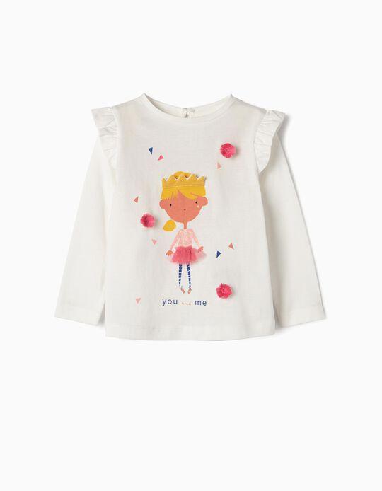 T-shirt Manga Comprida para Bebé Menina 'You and Me', Branco