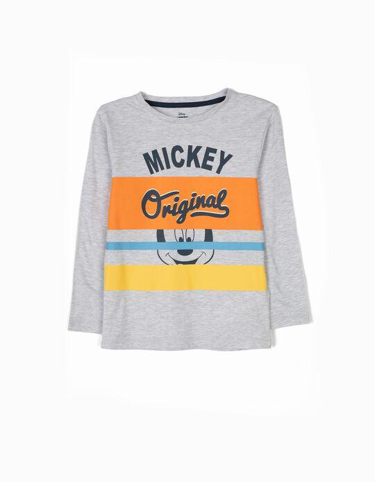 T-shirt de Manga Comprida Mickey Original Cinza
