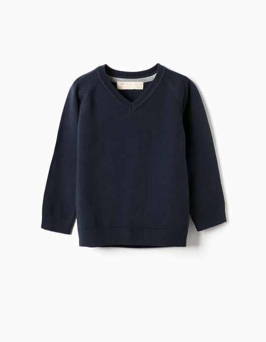 Camisola de Malha para Bebé Menino, Azul Escuro