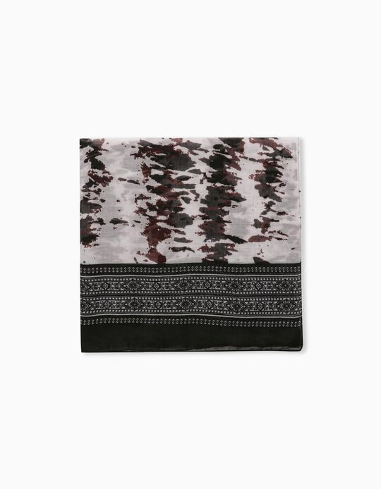 Printed Scarf for Women, Black
